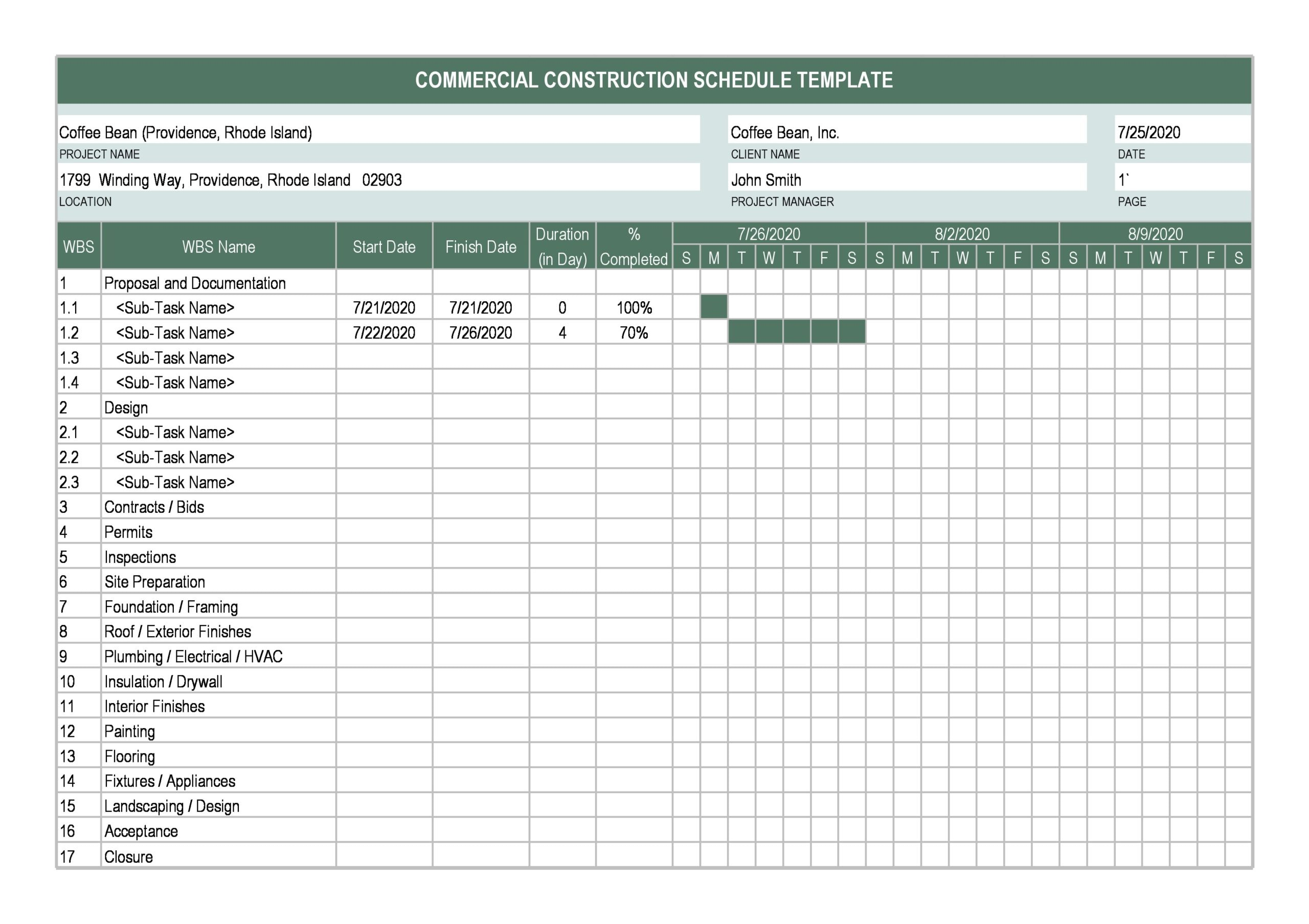 construction schedule 10