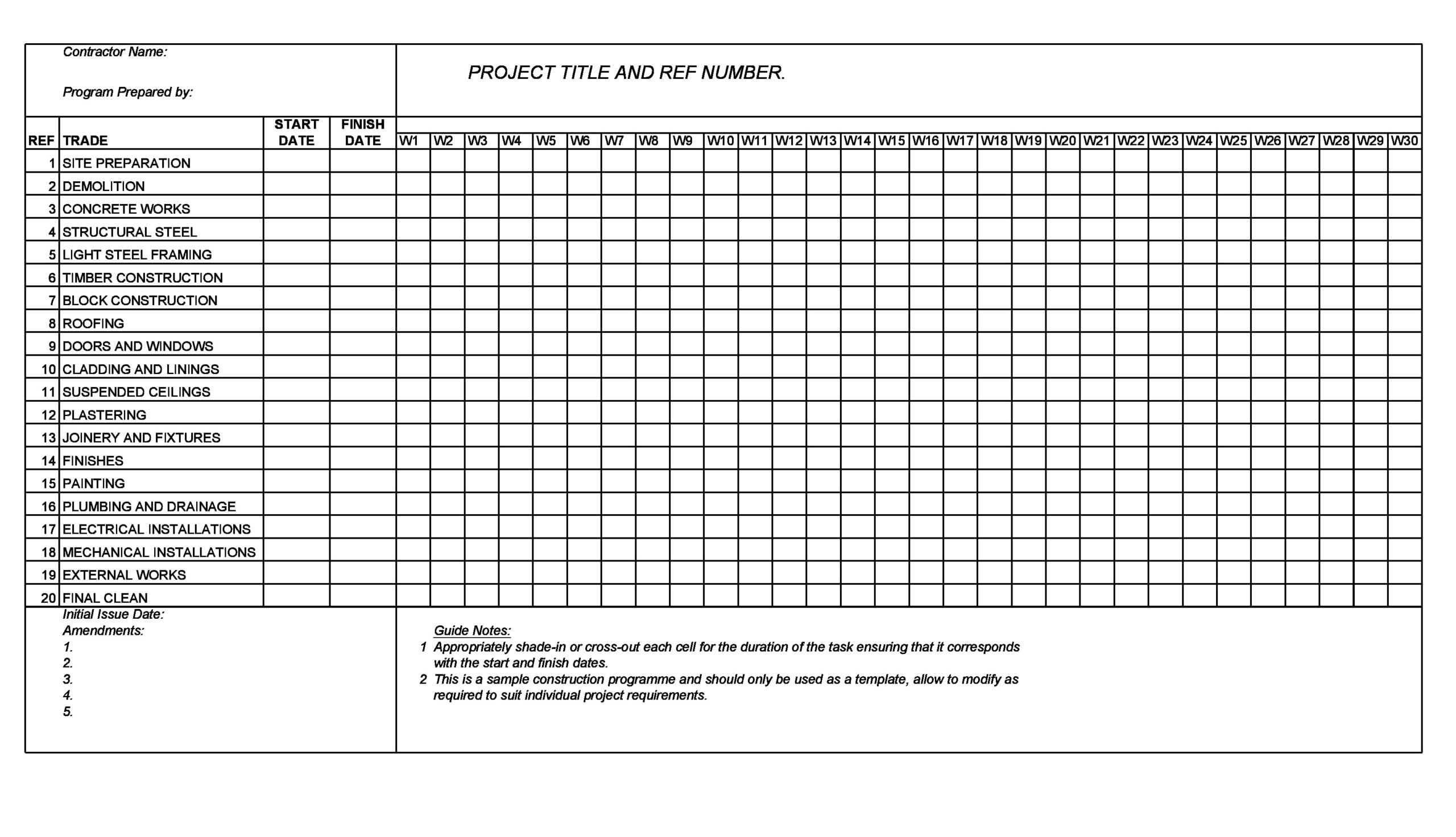 construction schedule 11