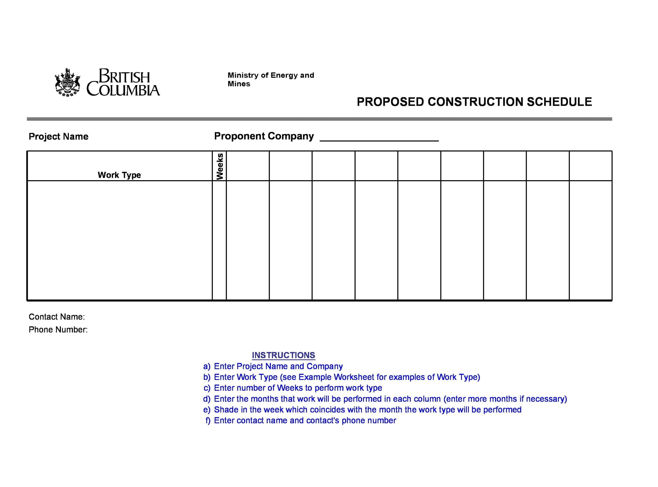 construction schedule 12