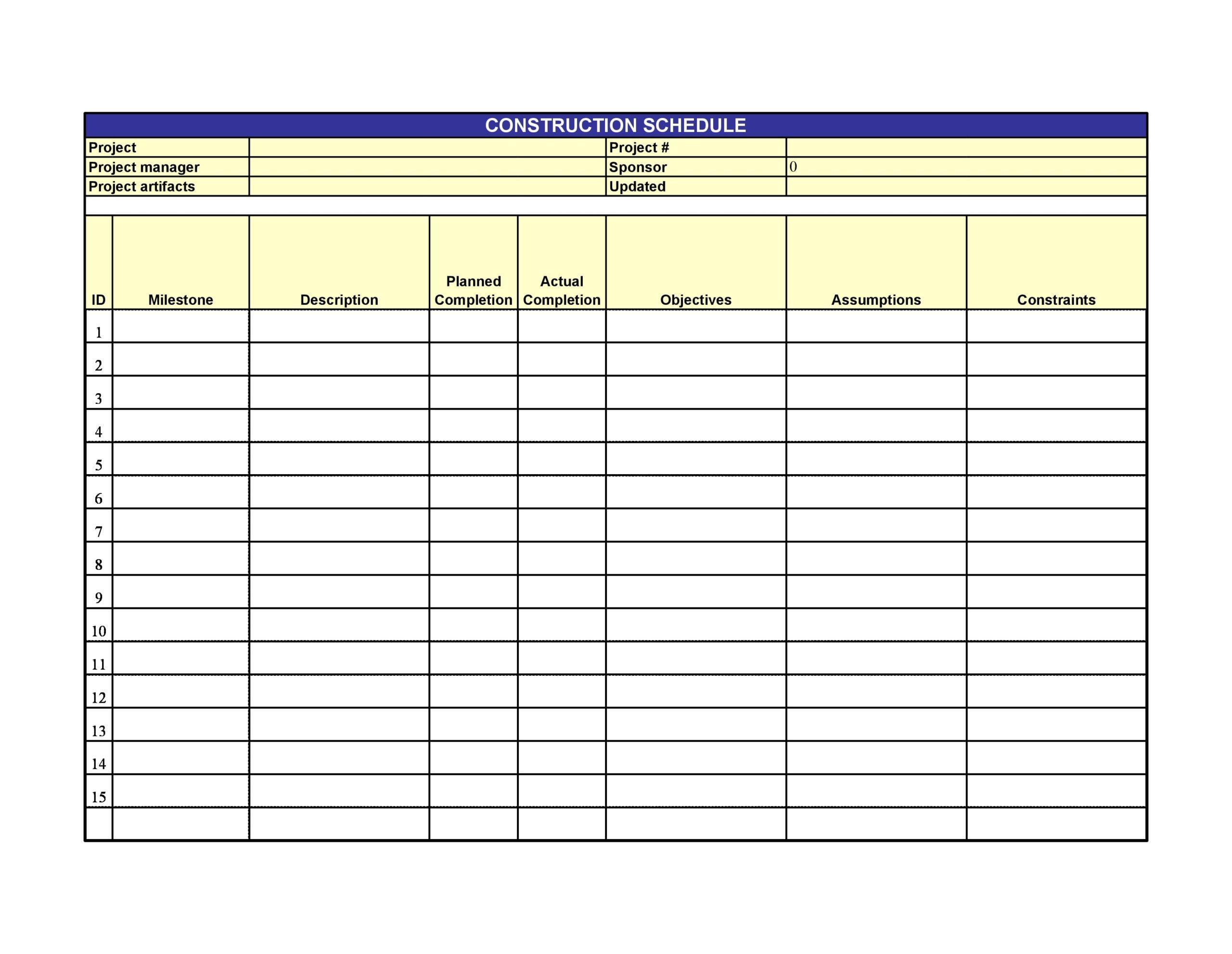 construction schedule 14