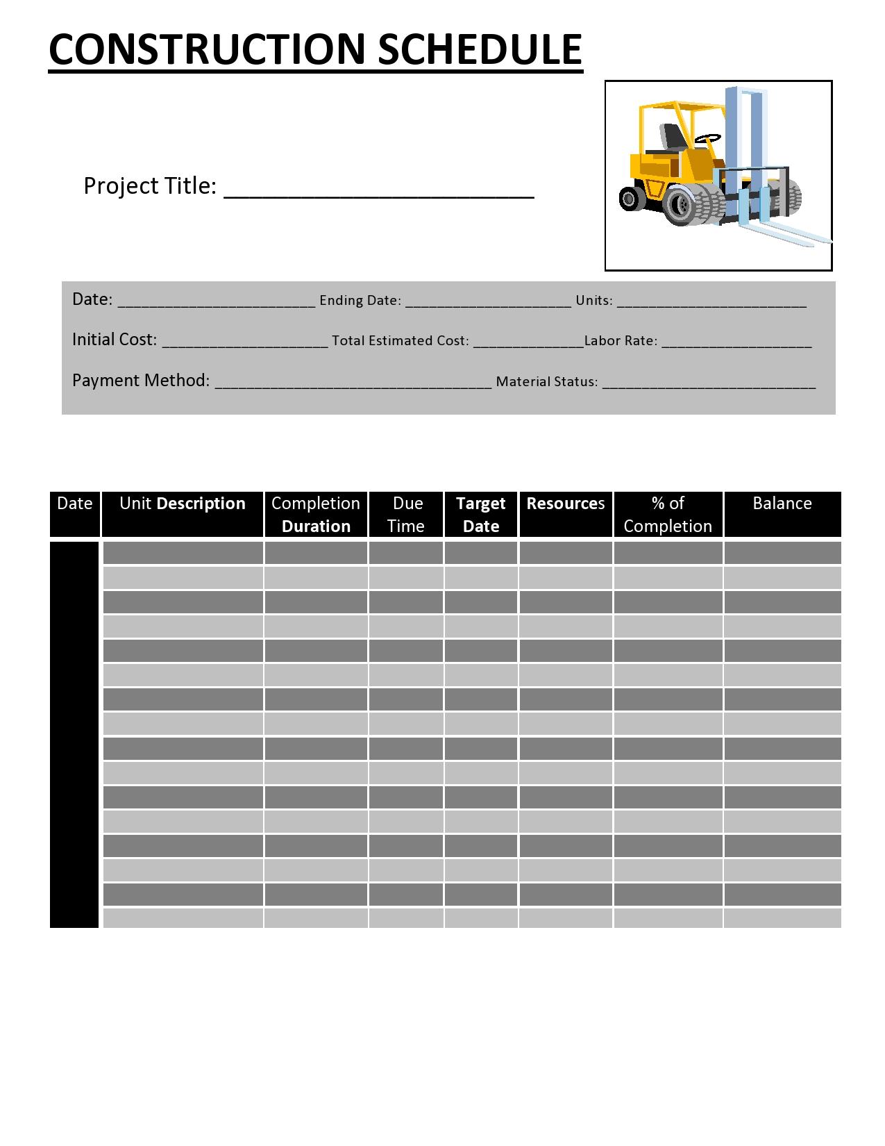construction schedule 26