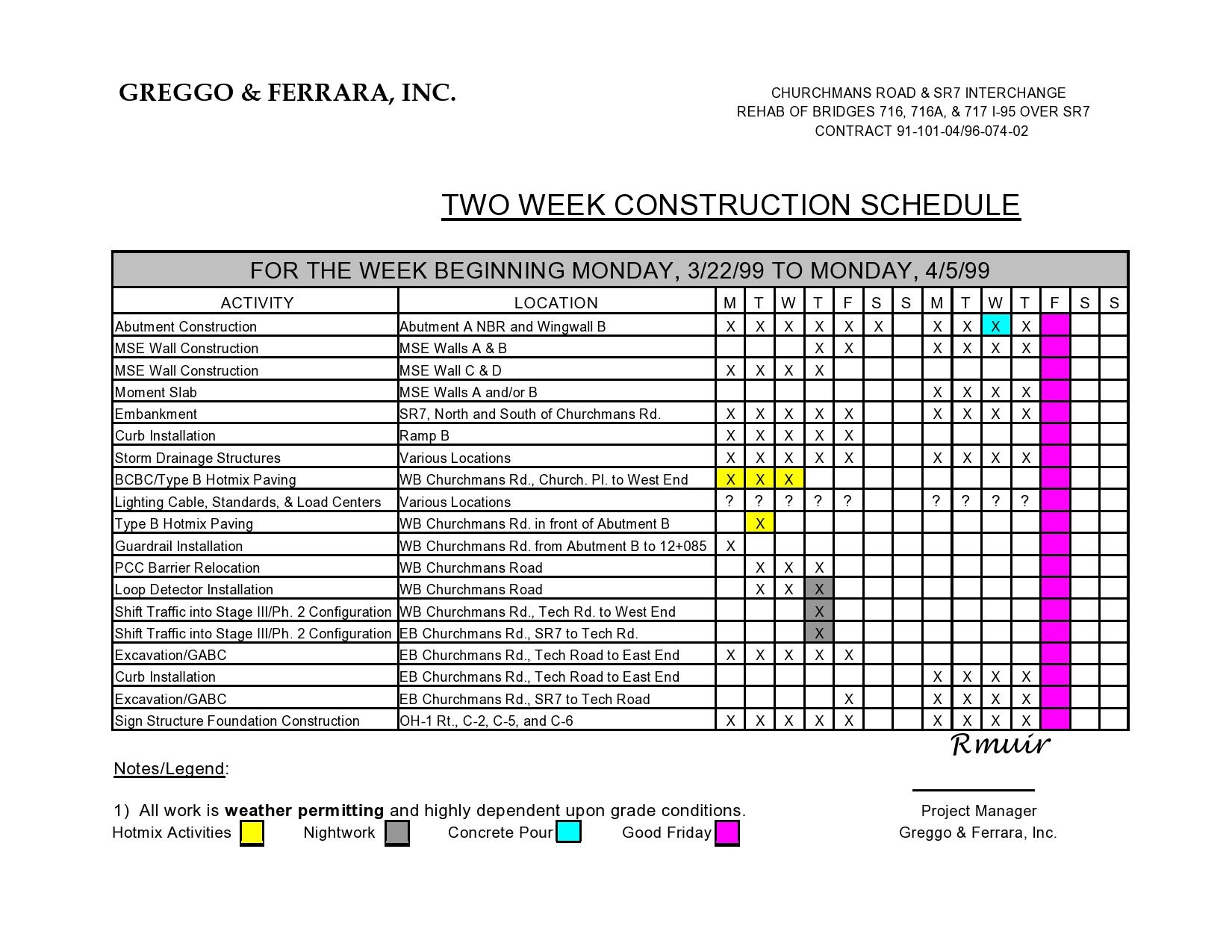 construction schedule 28
