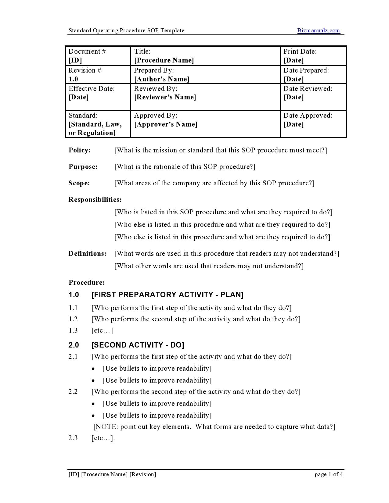 21 Free SOP Templates [Word] (Standard Operating Procedure) For Procedure Manual Template Word Free