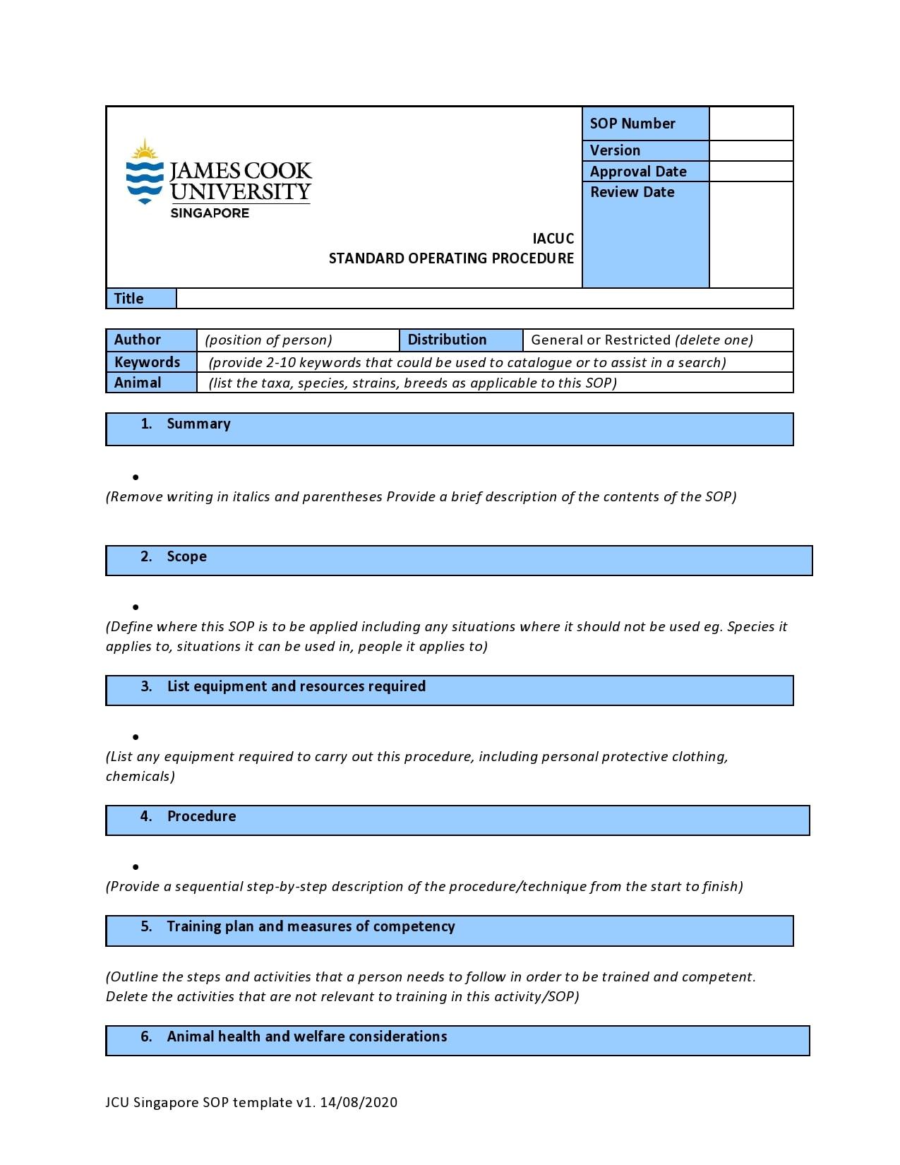 21 Free SOP Templates [Word] (Standard Operating Procedure) Within Procedure Manual Template Word Free