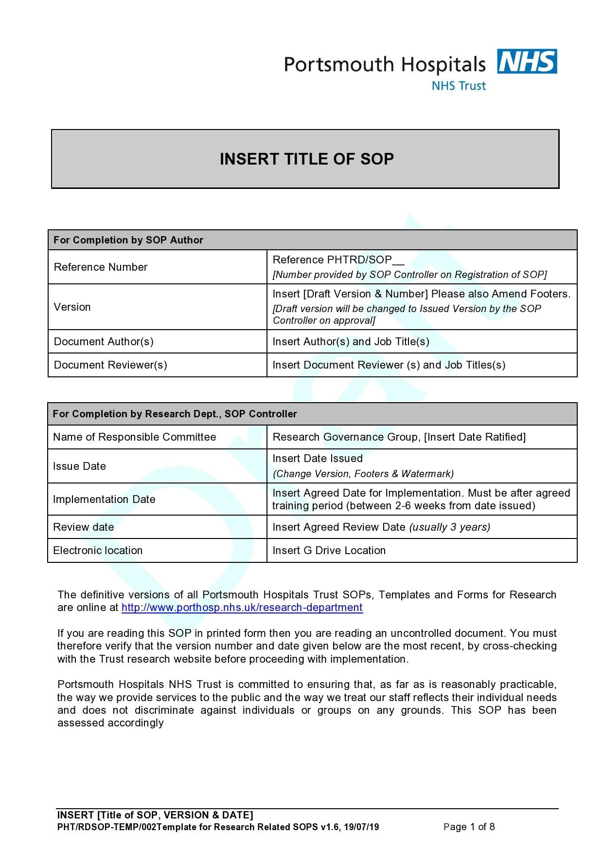30 Free SOP Templates [Word] Standard Operating Procedure
